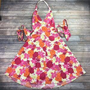 VTG {Guess Jeans} Floral Faux Wrap Dress Sz M